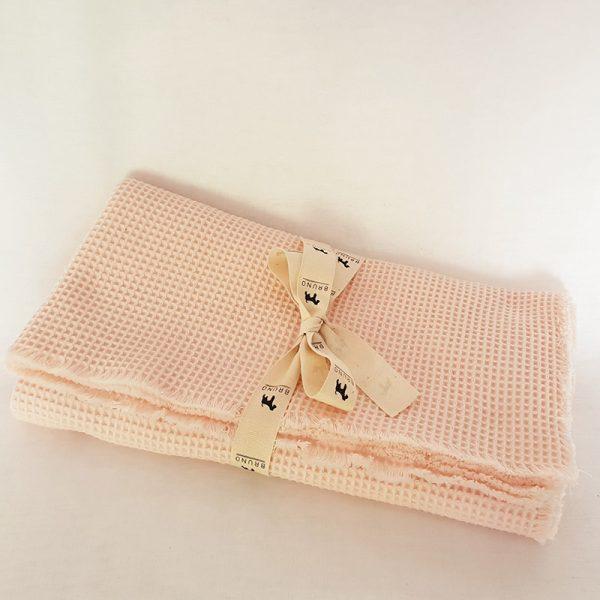 Cotton Waffle Weave Swaddling Blanket Raw Edge