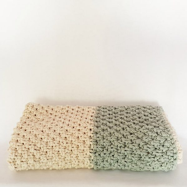 Handknitted Two-tone Luxe Cotton Baby Blanket