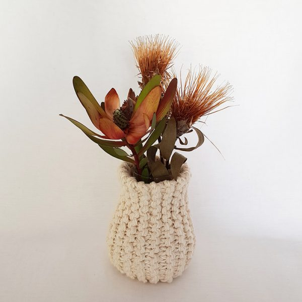 Handknitted Cotton Vase Cosy (excludes Dried Flowers)
