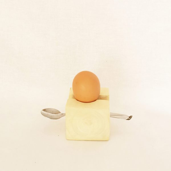 Wooden Egg Cup Block With Slit For Teaspoon