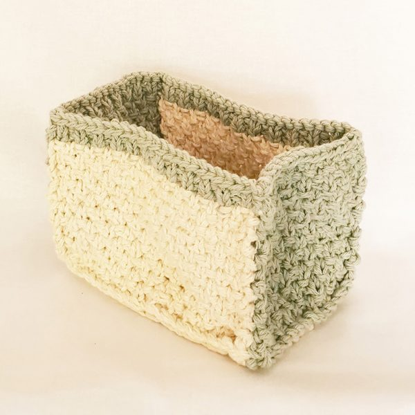 Handknitted Two-tone Cotton Caddy/hold-all