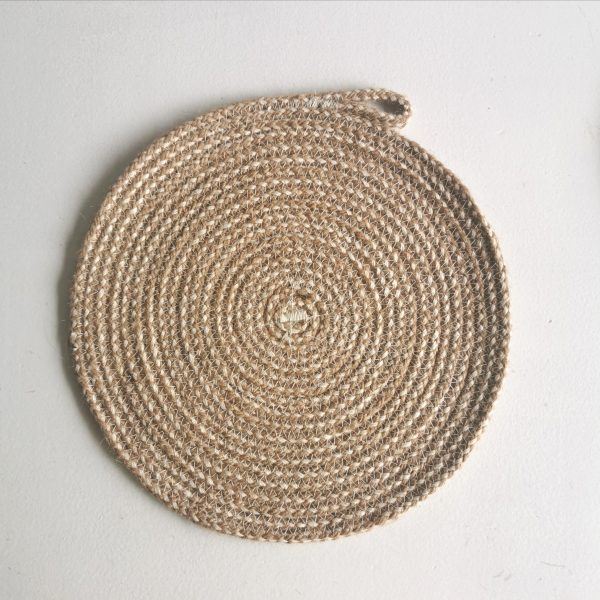 Rope Trivet Hemp With Cotton Dot