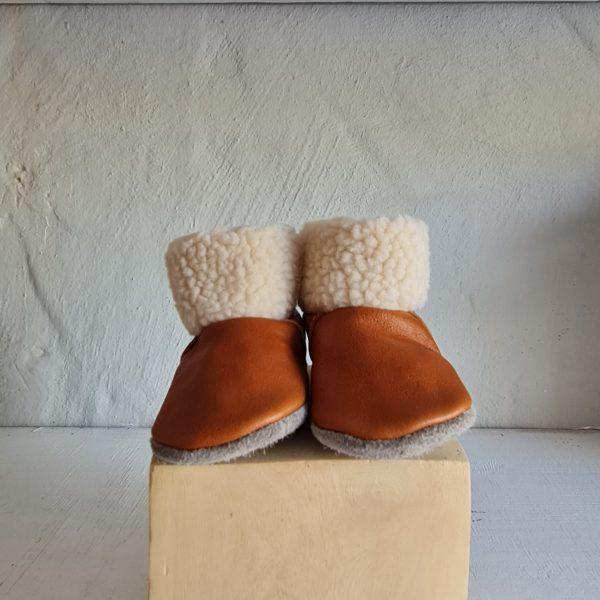 Fleece Lined Genuine Leather Baby Booties